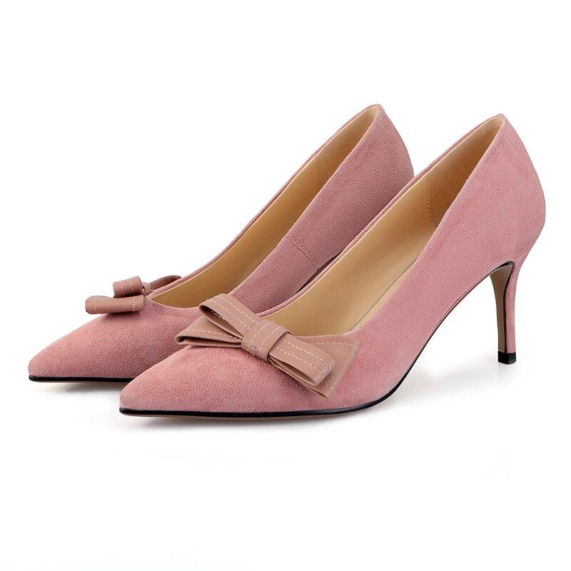 Bout Robe Mode Black sur Naturel Stilettos Femmes noeud Pompes Bureau Talons Slip Papillon Pointu Arden Dame pink Rose En Daim Chaussures Furtado 354LARj