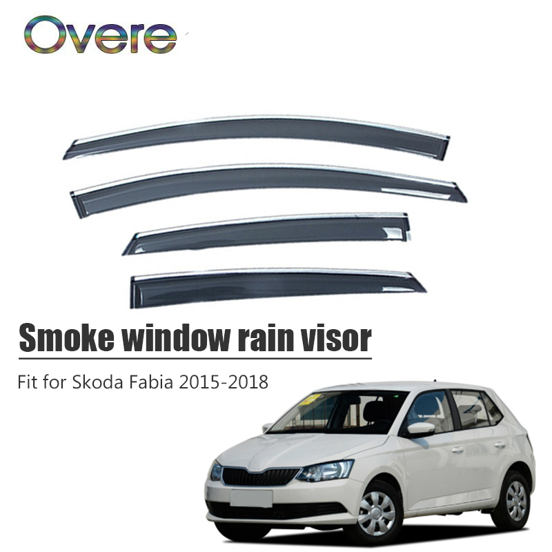 Overe 4Pcs 1Set Smoke Window Rain Visor For Skoda Fabia 2015 2016 2017 2018 Styling Vent