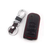Black Leather With Red Threaded 3 Bottons Folding Flip Remote Key Chain Holder Cover Case Fob Shell Keyfob for 2 3 5 6 RX-8 MX-5