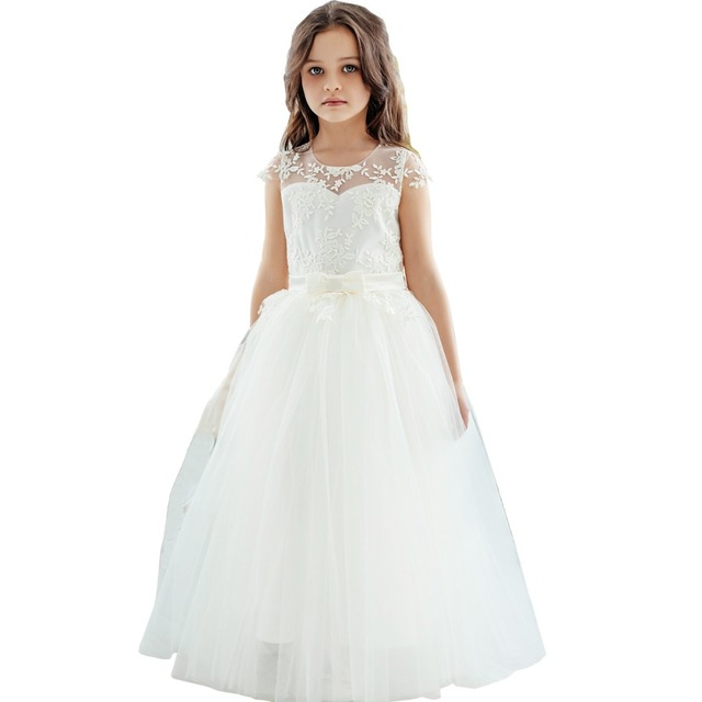 lace flower girl dresses party pageant prom bridesmaid ball gown children clothing baptism ivory dress