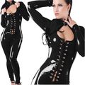 Womens leather jumpsuits black paint car model performance of sexy bodysuit