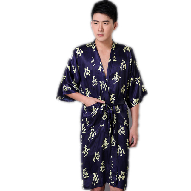 New Arrival Navy Blue Chinese Men s Faux Silk Robe Novelty Kimono Yukata Gown  Summer Sleepwear Size S M L XL XXL XXXL 4bd7c112a
