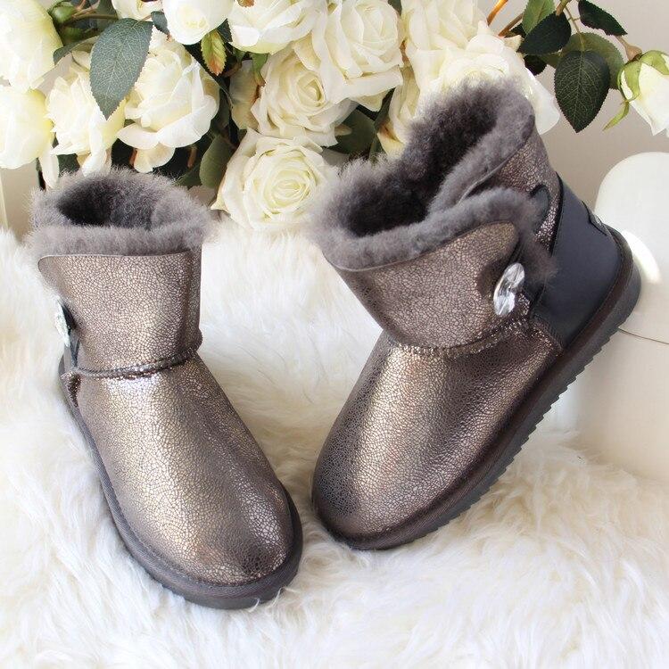 Ayakk.'ten Ayak Bileği Çizmeler'de Yeni Hakiki Koyun Derisi Deri Kar Botları Doğal Kürk Botas Mujer 100% Gerçek Yün Kadınlar Sıcak Kış Çizmeler Moda Kadın Ayakkabı'da  Grup 1