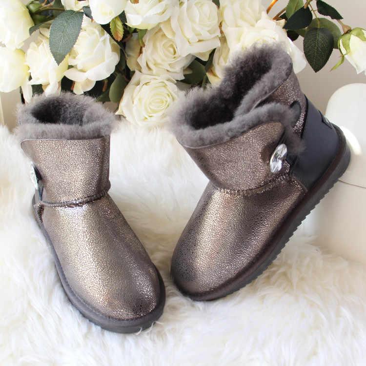 Yeni Hakiki Koyun Derisi Deri Kar Botları Doğal Kürk Botas Mujer 100% Gerçek Yün Kadınlar Sıcak Kış Çizmeler Moda Kadın Ayakkabı