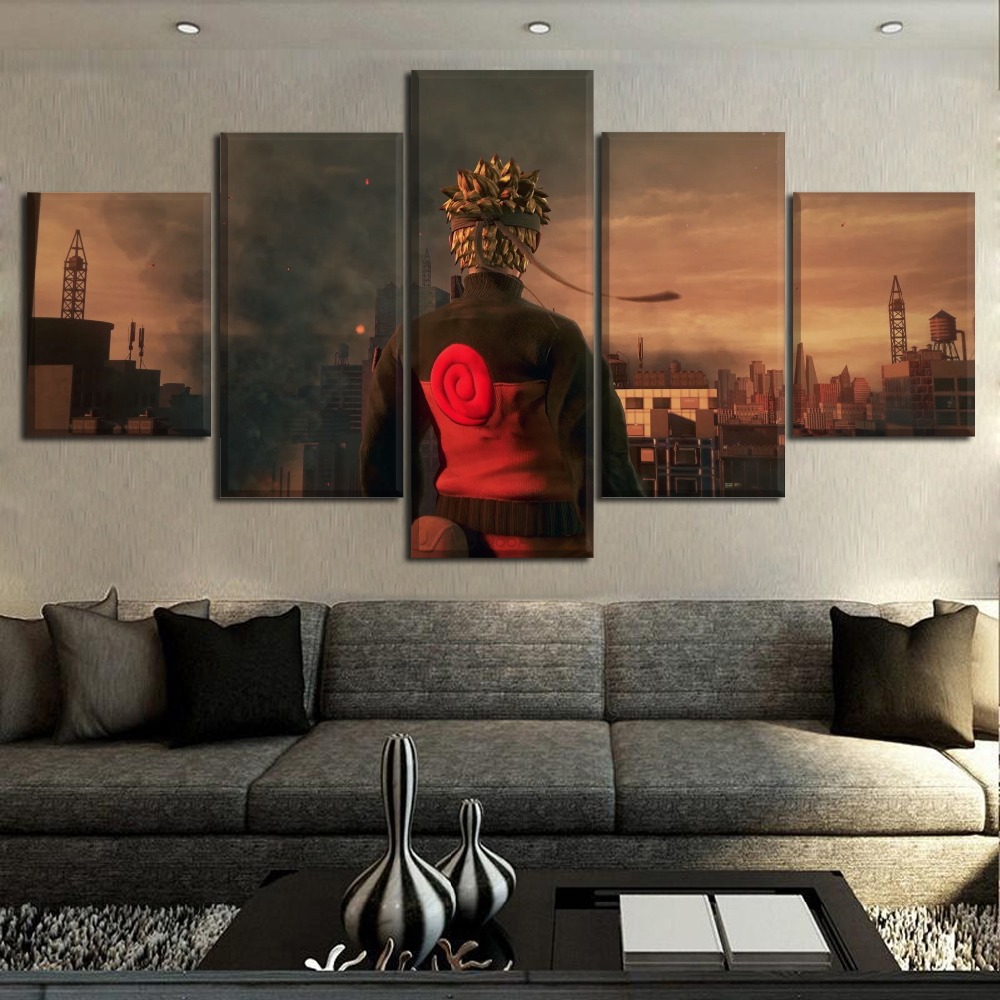 5 Pieces HD Printing Painting Naruto Frame Modern Wall Art Modular Anime Type Poster Abastract Artwork Unique Gift Home Decor in Painting Calligraphy from Home Garden