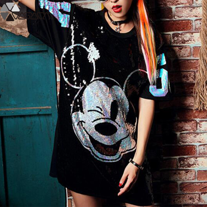 Women Summer Plus Size Dress Short Sleeve Streetwear Casual Loose O-Neck Minnie Mickey Mouse Sequin Party Club Mini Dresses 13