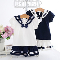 5195 Navy School Style Toddler Kids Baby Girls Clothing Sets 0 3Y Summer Children Clothes Wholesale