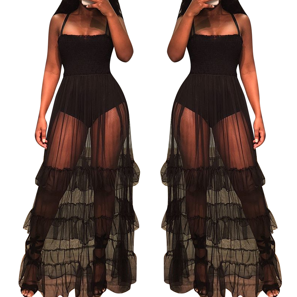 Black Sexy Bustier Party Mesh Dress 2018 New Bandeau Sleeveless See through Strap Dress Sheer Beach Women Summer Elegant Dress