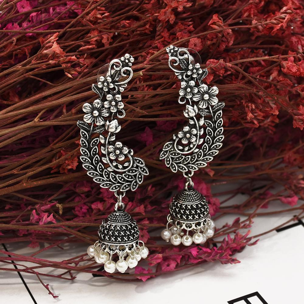 Bollywood Oxidized Jewellery Ethnic Silver Afghan Long Tassel Bead Drop Flower Peacock Jhumka Indian Earrings Wedding Jewelry
