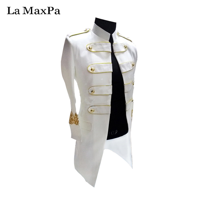 US $64 5 14% OFF|La MaxPa 2017 male singer DJ stage costume Club bar Long  Jacket Big Size Black And white Costume Slim performance Clothes yy17-in
