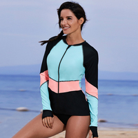 Surfing Running Swimwear Anti UV Sun Protection Sport Front Zipper Women Rash Guard Casual Top Yoga Quick Dry Beach Long Sleeve
