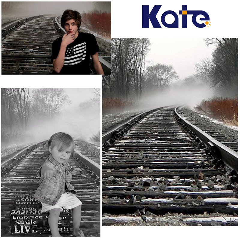 Kate 5x7ft (150x220cm )Photo Background Railway Train Stones Photography Backdrops Thick Cloth Photography Backdrop 3091 Lk