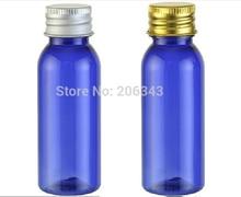 30ml blue round shoulder plastic PET bottle toilet water bottle lotion bottle with silver gold aluminum