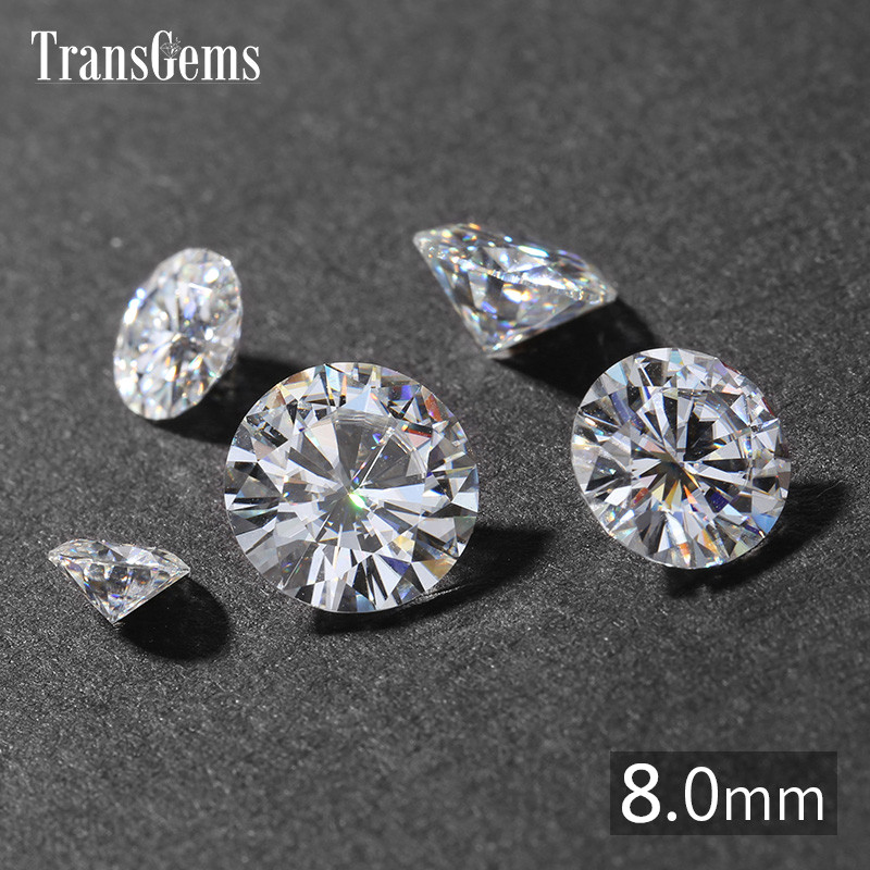TransGems 1 Piece Diameter 8mm GH Colorless Round Hearts and Arrows Cut Lab Grown Moissanite for