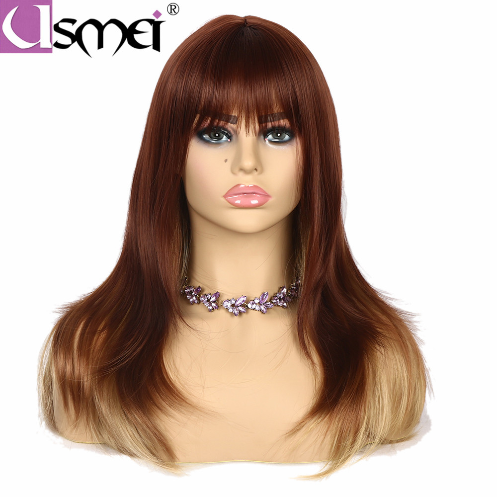 USMEI Hair long straight Blonde Brown Black synthetic wigs for women 4color choice shoulder long wig african american fake hair