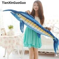 Grande 140 cm atum azul jogar travesseiro presente de aniversário criativo boneca de brinquedo de pelúcia macia h2032