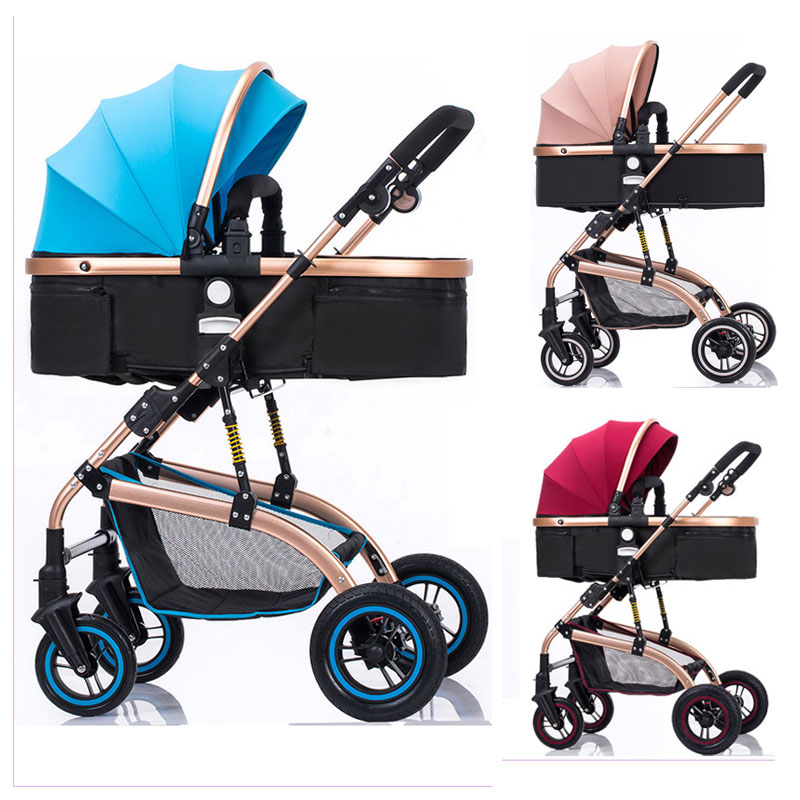 High Landscape Convertible Handle Baby Trolley Flat Lying Folding Baby Stroller 3 In 1 Baby Carriage Car Seat Cradle PushchairHigh Landscape Convertible Handle Baby Trolley Flat Lying Folding Baby Stroller 3 In 1 Baby Carriage Car Seat Cradle Pushchair