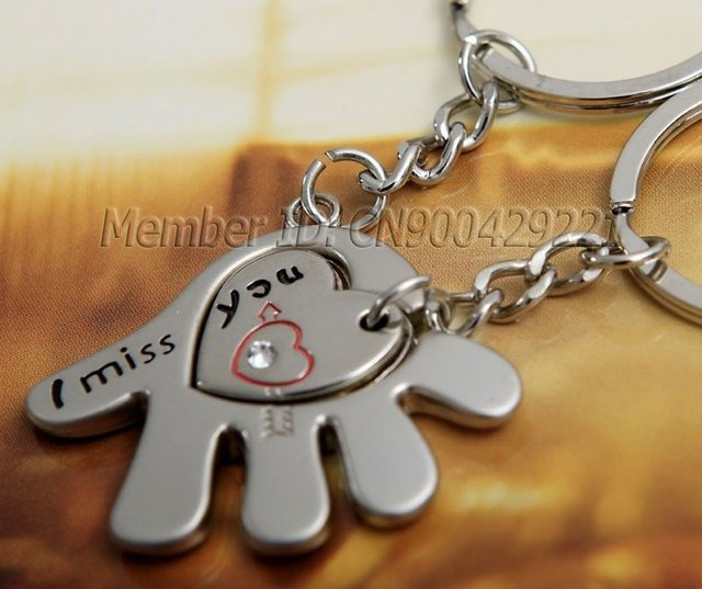 New For Lovers I Miss You Hand Heart Key Chain Keyring Keyfob Arrow