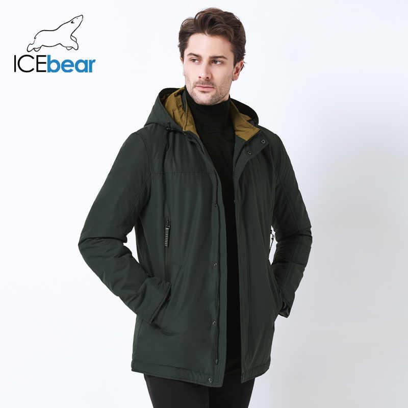 ICEbear 2019 wysokiej jakościowa kurtka jesień nowy dorywczo kołnierz męska kurtka z odpinanym kapturem marki mężczyźni MWC18123I