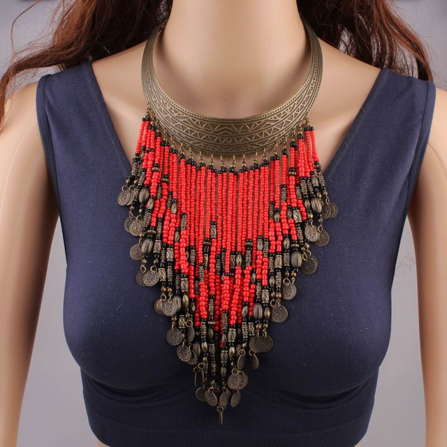 Coral Beads Necklace Jewelry Vintage Ethnic Necklaces For Women 2017 New Fashion Beaded Tassel Coin Necklace Chain Collar YY0853