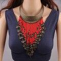 Cuentas de Coral Collar de la Joyería de La Vendimia Étnica Collares Para Las Mujeres 2016 Nueva Moda Con Cuentas Collar de Cadena Collar de La Borla de La Moneda YY0853