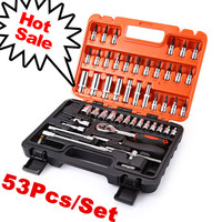 53pcs 1/4 Socket Ratchet Car Repair Tool Case Precision Sleeve Universal Joint Hardware Kit Auto Repairing Hand Wrench Tool Set