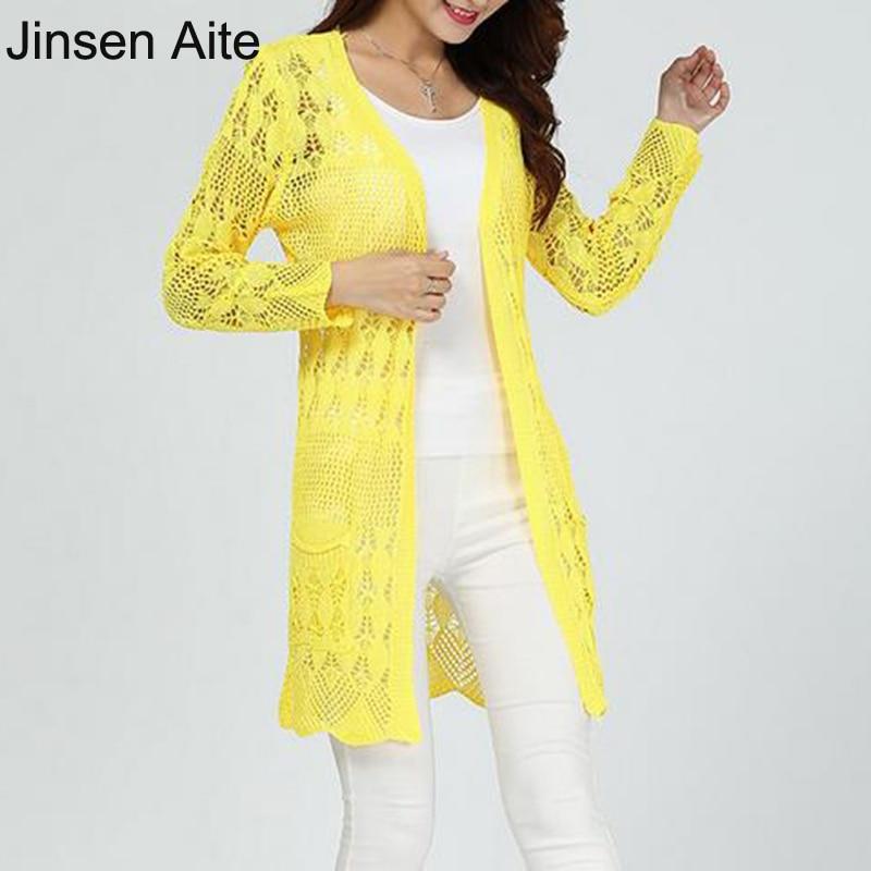 Jinsen Aite Nový jarní léto pevné ženy svetr s dlouhými rukávy kapesní košile opalovací krém duté ven tenké příležitostné vícebarevný JS590