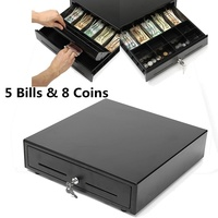 Electronic Cash Drawer Cash Register POS Tray 5 Bill 8 Coins Heavy Duty Storage Cash Register Tray Box Classify Store Money Box