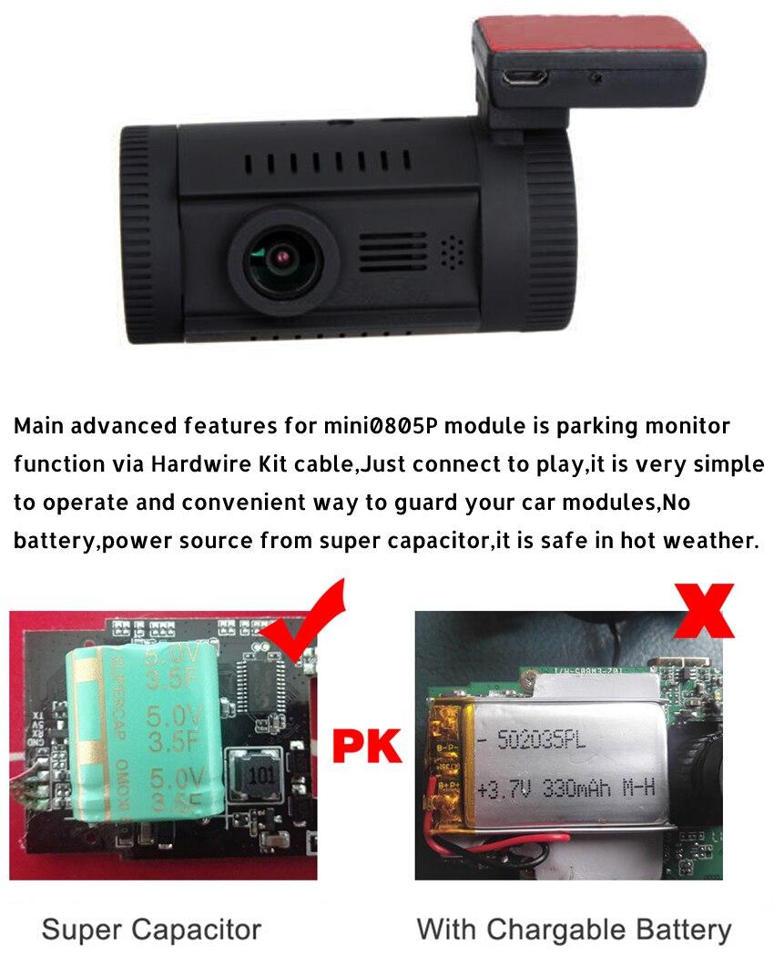 Caméra de tableau de bord Conkim voiture MINI 0826 P 1296 p 30fps H.264 WDR GPS DVR capteur de stationnement vidéo condensateur de Protection basse tension - 4