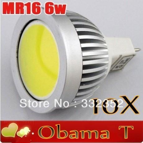 Hot! 10pcs/lot  COB MR16 6W LED Spot Light 12v input 120 degree 500lm  Free shipping