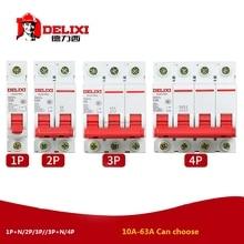 """Миниатюрный автоматический выключатель DZ47S DELIXI MCB 1 полюс 2 полюса 3 полюса 4 полюса """"C"""" Curvers 1A-63A"""