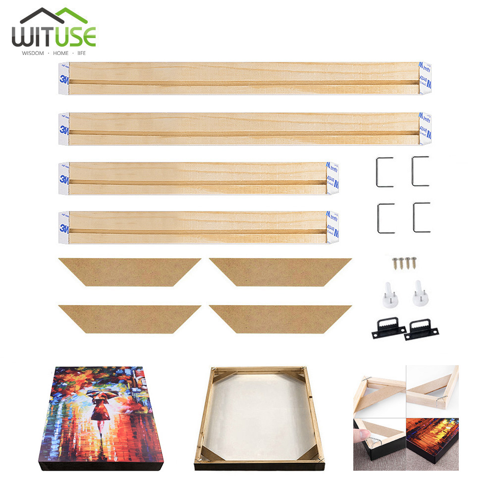 Wooden Frame For Canvas Oil Painting Nature Wood DIY Canvas Frame Picture Frame For Bar Oil Painting Wall Art Multiple Sizes