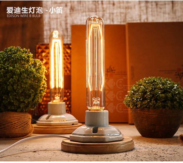 Kiven vintage industrial table lamp edison bulb ceramic wood table kiven vintage industrial table lamp edison bulb ceramic wood table bedside lamp nightstand desk light dimmable greentooth Choice Image