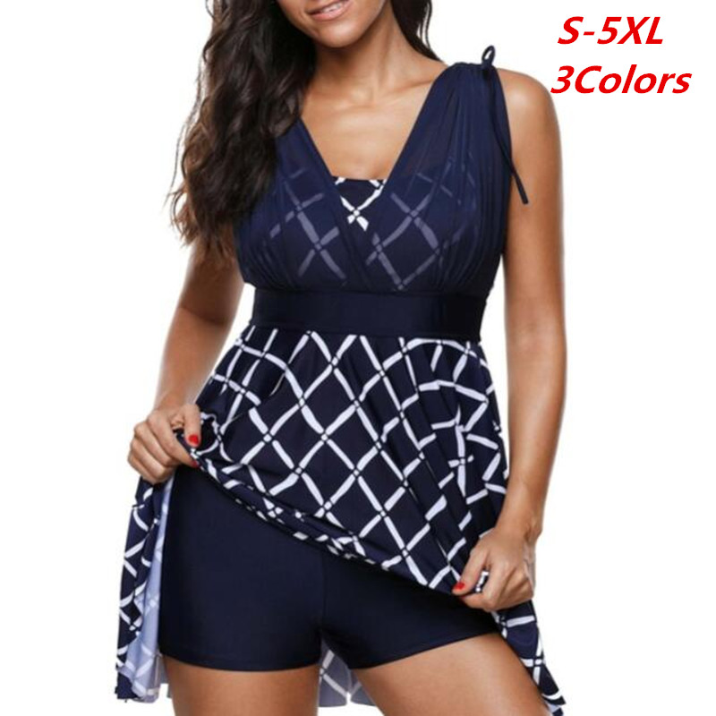 Plaid Print Plus Size Women Tankini Mesh Swimwear For Big Size Girl Two Pieces Swimsuit With Shorts Push Up Swim Wear High Waist