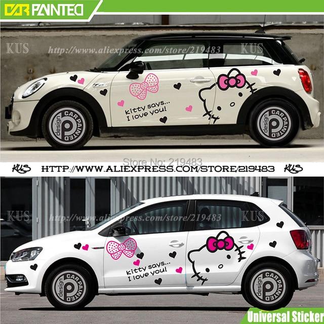 Whole car sticker design cute kitty cat car body sticker hood decals car accessories cartoon 3d