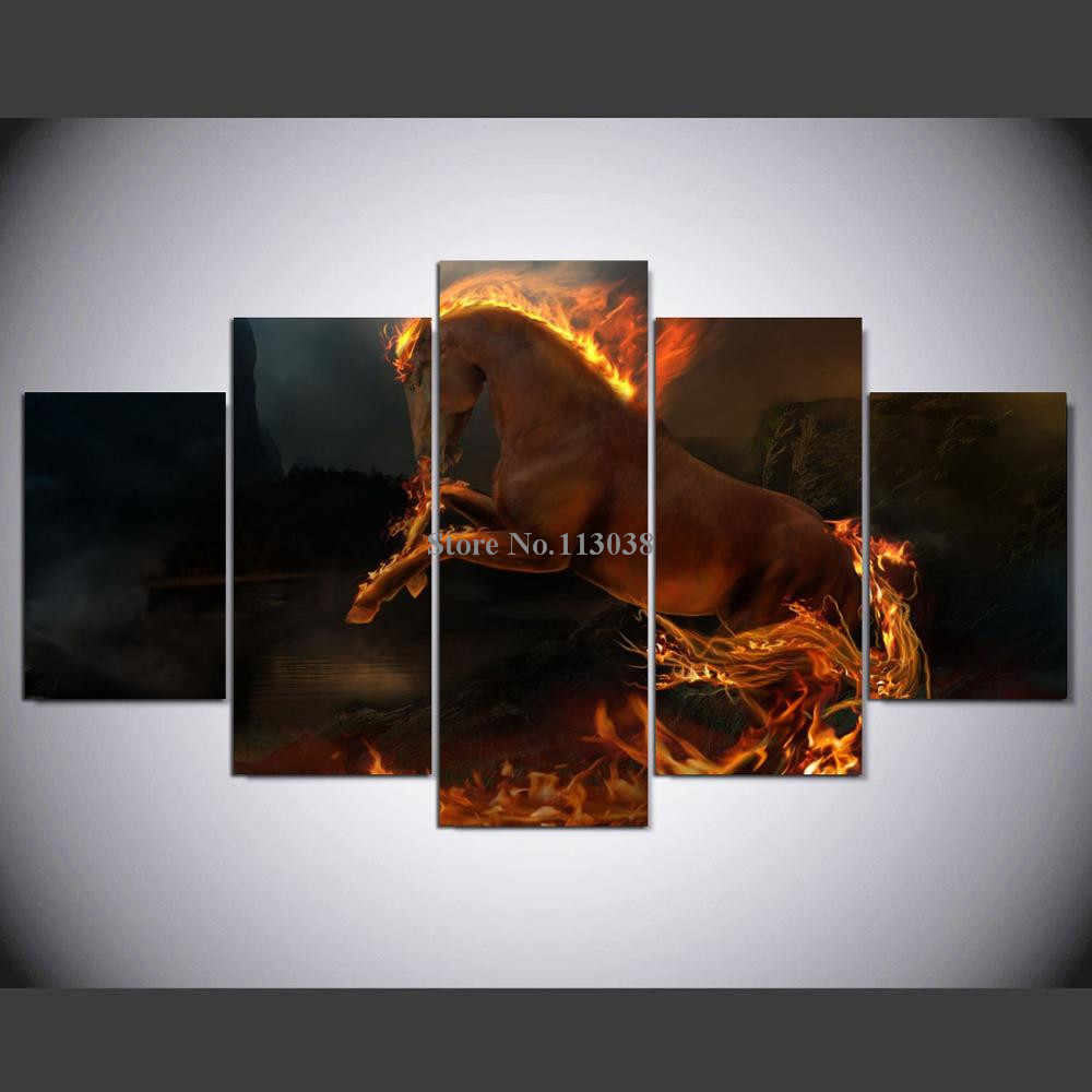 Free Shipping Fire Horse Printed Canvas Painting Living Room Wall Animal Art Pictures Home Posters Wholesale