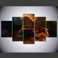 אש משלוח חינם מודפס סוס בעלי החיים אמנות קיר בד ציור סלון תמונות כרזות בית סיטונאי