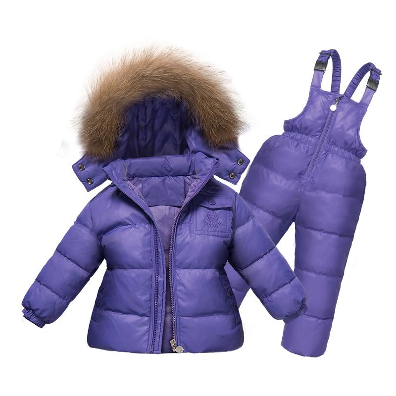 Russie Hiver Filles Vêtements Ensemble 2 PC Vers Le Bas Manteau + Salopette Costumes de Ski Chaud Coupe-Vent Outwear Habits de Neige Vestes + écharpe pantalon 2-5 T Enfants