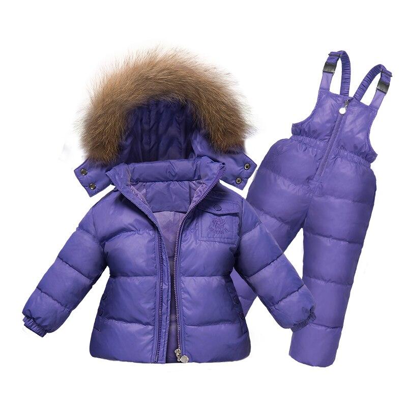 Russie hiver filles ensemble de vêtements 2PC vers le bas manteau + salopette Ski costumes chaud coupe-vent vêtements de neige Outwear vestes + écharpe pantalon 2-5T enfants