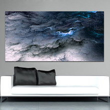 WANGART Large Size Canvas Poster Art Prints Cloud Abstract Black Blue Oil Painting for Living Room Decorative Picture Pop Home(China)