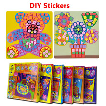 6 Pcs set Kids Puzzle Stickers Toys EVA Mosaic Art Farm Educational Baby Animals Flowers Transport