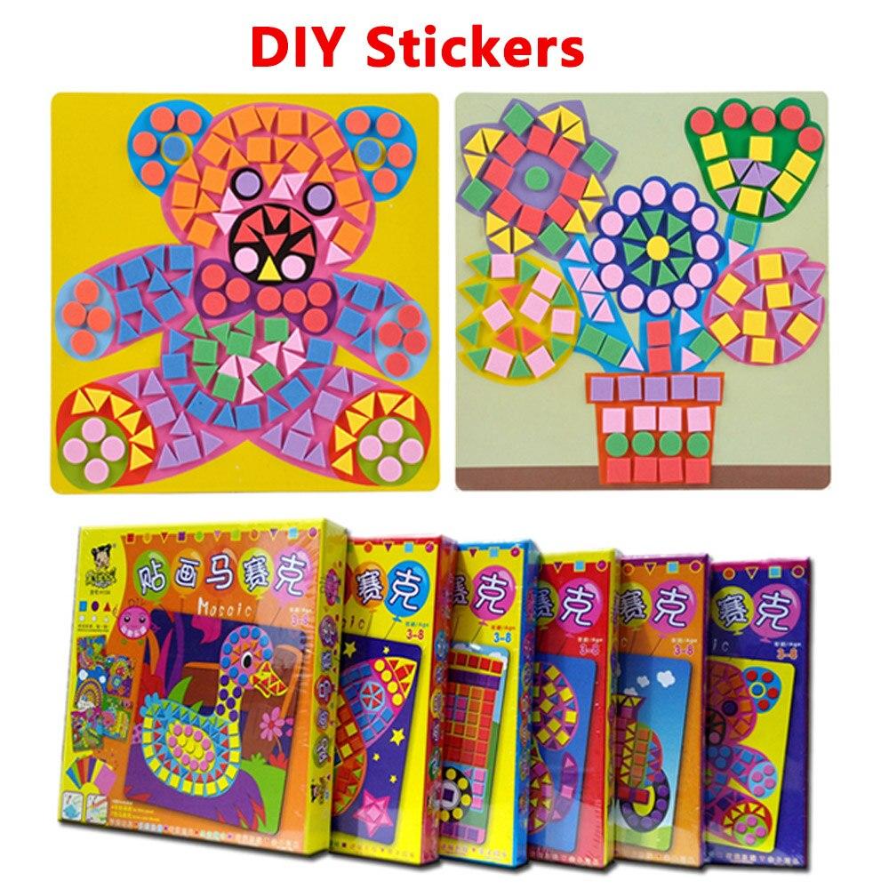 6 Teile/satz Kinder Puzzle Aufkleber Spielzeug EVA Mosaikkunst Bauernhof Bildungs Baby Tiere Blumen Transport Autos Kindertag Geschenk