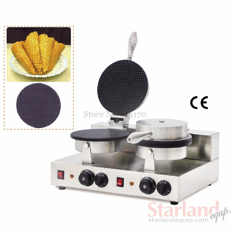 где купить Double Heads Ice Cream Cone Machine for Ice-cream Cone Making Crispy Waffle Making Crackers Machine дешево