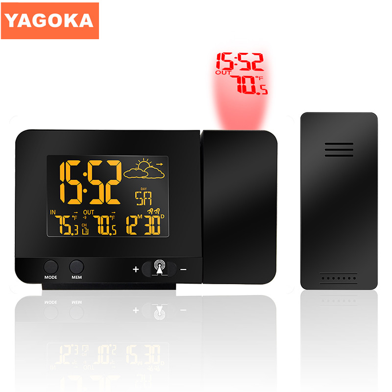 EU & USA Plug Optional 433MHz Phone Charging Digital Projection Alarm Clock Weather Station