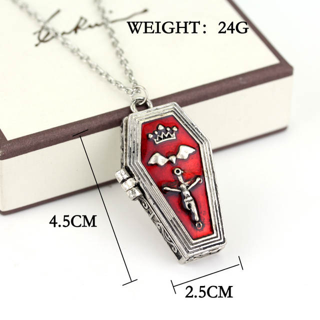 Gothic Red Enameled Vampire Hallowee Bat Cross Open Box Coffin Casket  Vintage Punk Cool Vampire Jesus Coffin Pendant Necklace