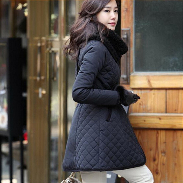 New Women Winter Warm Hooded Cotton Jacket Parka Coat Overcoat Slim Fur Collar Winter Jacket Women Outwear Plus Size S-4XL C1457