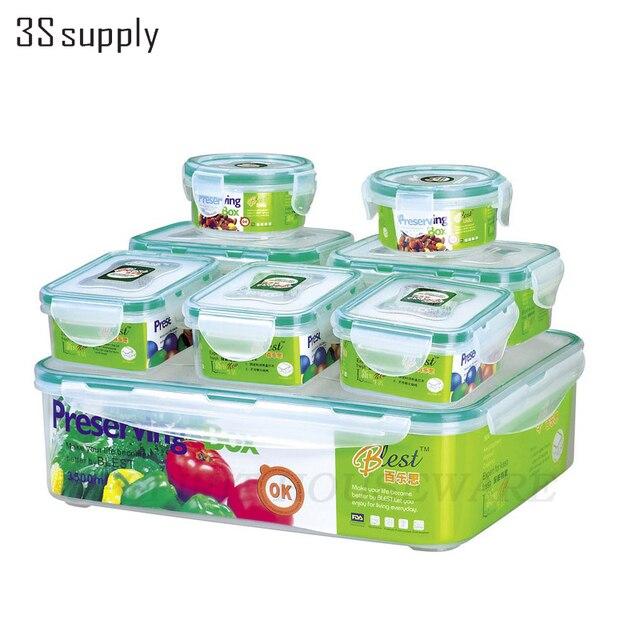 Home Plastic Storage Box  8pcs/set Microwavable Food Container Kitchen Organizer Bento Lunch Box Caixa Organizadora Vacuum Boxes