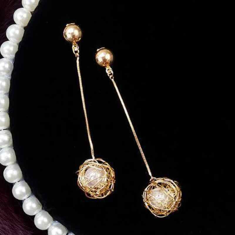 Hollow Gold Skein Pearl Earrings Temperament Long Pendant Personality Exaggerated Tide Net Red Earrings For Women Oorbellen