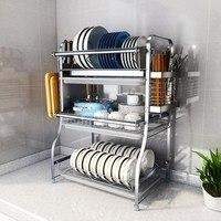 304 stainless steel kitchen racks Dish rack drain dishes dryer chopsticks supplies storage box drain bowl shelf