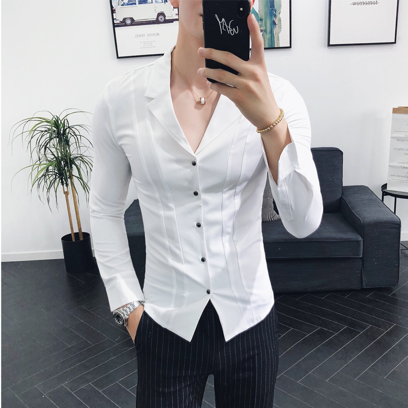 Solid Suit Collar Shirt Deep V Sexy Pleat Shirt Men Slim Fit Long Sleeve Dress Shirt Korean Men Fashion Clothing White Navy